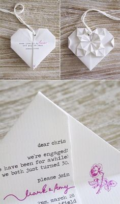 Weddbook is a content discovery engine mostly specialized on wedding concept. You can collect images, videos or articles you discovered  organize them, add your own ideas to your collections and share with other people - origami wedding invitation is so orijinal