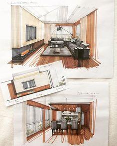 Interior Architecture Drawing, Interior Design Renderings, Architecture Concept Drawings, Drawing Interior, Interior Sketch, Architecture Design, Architecture Sketchbook, Interior Design And Technology, Home Interior Design