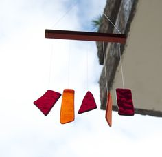 Colorful wind chimes made by TuulaGiraldoArtGlass