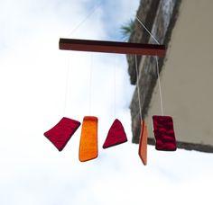 Colorful wind chimes made by TuulaGiraldoArtGlass