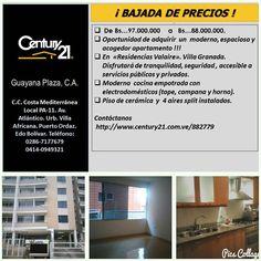 Moderno espacioso y acogedor #apartamento en Villa Granada Puerto Ordaz.  #bienesraíces #inversión #inmuebles #inmobiliaria #Guayana #pzo #Century21