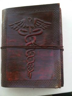 Vintage book Leather bound handmade blank journal Doctor Physician symbol diary. | eBay
