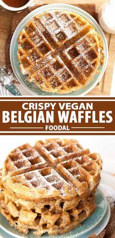 Dairy Free Belgian Waffle Recipe, Waffle Recipe Almond Milk, Dairy Free Waffles, Milk Free Waffle Recipe, Vegan Foods, Vegan Dishes, Vegan Sweets, Vegan Desserts, Vegan Recipes