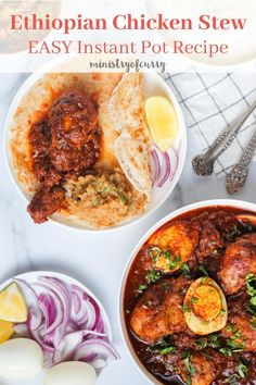 Love Spicy Ethiopian Cuisine? Here is an EASY recipe for homemade Doro Wat, spicy chicken stew that is sure to fire up your taste buds. #ministryofcurry #ethiopianrecipes Spicy Chicken Recipes, Curry Recipes, Vegetarian Recipes, Ethiopian Cuisine, Biryani Recipe, Most Popular Recipes, Delicious Dinner Recipes, Recipes For Beginners, Indian Food Recipes