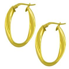 14 Karat Yellow Gold Polished Twist Oval Hoop Earrings Kooljewelry. $152.99. Weighs 2.2 gram(s). Comes with a comfortable post with snap down closure. Crafted in yellow gold. Add a touch of style to your wardrobe with this elegant yellow gold pair of earrings