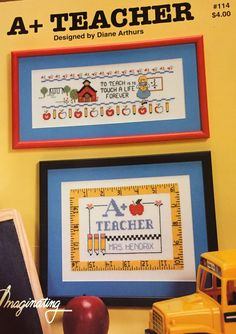 This cross stitch pattern features charts to stitch for your favorite teachers.  Pattern name: :A+ Teacher  Publisher: Imaginating