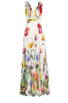 A fashion look from October 2015 featuring floral print maxi dress, open toe sandals and shoulder hand bags. Browse and shop related looks. Floral Evening Gown, White Evening Gowns, White Ball Gowns, Evening Dresses, Vestido Maxi Floral, Floral Print Maxi Dress, Floral Gown, Pleated Maxi, Floral Dresses
