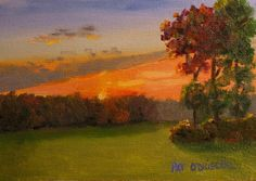 Oil painting of an Autumn Landscape at  Sunset by PatsPaintings, $40.00