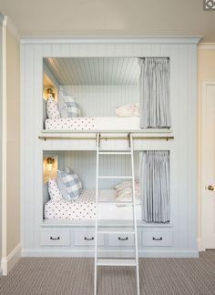 Isnt this the cutest bunk room Its feminine but not overly girly Love the mix of polka dots buffalo check gingham and floral So so cute The mix of metals the indooroutdoo. Bunk Bed Rooms, Bunk Beds Built In, Kids Bunk Beds, Built In Beds For Kids, Painted Bunk Beds, Bunk Bed Ideas For Small Rooms, Cabin Beds For Kids, Bunk Bed Curtains, Bunk Bed Ladder