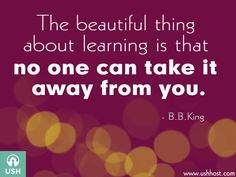 The beautiful thing about learning is nobody can take it away from you.--B. B. King