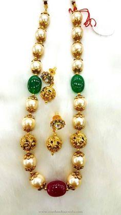 Hyderabad Pearl Necklace Designs, Hyderabad Pearl Mala Designs.