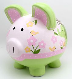Jungle Jill Personalized Safari Piggy Bank in Pink and Green with Zebra, Giraffe, Elephant and Monkey Personalized Piggy Bank, Personalized Gifts, The Little Couple, Pig Bank, Penny Bank, Paper Mache Animals, Money Box, Baby Decor, Custom Items