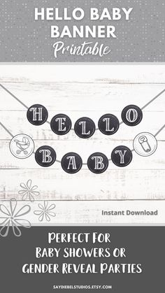 """Hello Baby/Babies Banner. Instant Farmhouse Baby Shower/Gender Reveal Decor! Hello Baby/Babies Banners Circles once cut around edge are 7"""". Includes additional letters for multiple babies. DOWNLOAD, PRINT, CUT OUT, CONSTRUCT BANNER, HANG, & ENJOY! #babyshower #genderreveal #baby #babies #genderrevealparty #hellobaby #hellobabies Baby Banners, Shower Banners, Baby Shower Gender Reveal, Gender Neutral Baby, Gender Reveal Decorations, Baby Shower Decorations, Printable Banner, Printables, Printable Art"""
