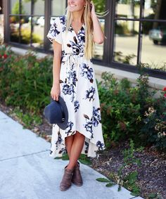 So Perla Ivory & Navy Floral Hi-Low Dress | zulily