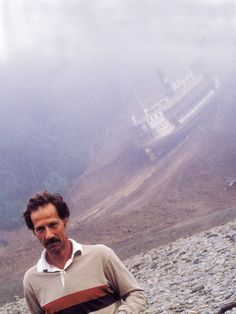 "Werner Herzog on the set of ""Fitzcarraldo""."