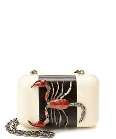MCL M.C.L Snakeskin & Lizard-Embossed Leather Clutch