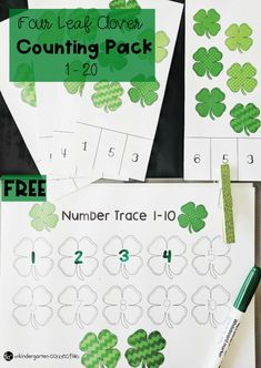 These shamrock counting printables are so much fun for a St. Patrick's Day math center in Pre-K or Kindergarten for working on numbers 1-20!