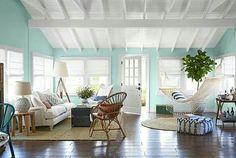 Love this space! What a great idea to hang a hammock! #beachcottage #beachdecor