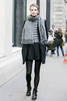 Street Style Paris Spring 2014 - Model off duty (Jan. 2014); just love that big scarf.