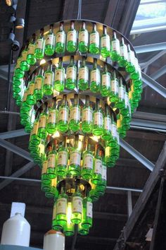 A Jameson Whiskey Chandelier. I took this photo inside the Old Jameson Distillery in Dublin, Ireland.