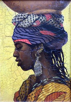 """Fulani (Chad)"" from the Girls of Africa series - Stanislav Plutenko {female head profile young black woman face balancing bowl painting}"