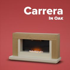The Adam Carrera contemporary electric fireplace suite has been designed to complement a wall mounted TV and is suitable for positioning directly below your television. The mantel finished in oak paired with the ivory hearth and shelf draws attention to the Carrera's realistic flame effect and glowing pebble bed.  The Carrera freestanding electric fire can be operated in 1kW & 2kW heat settings, alternatively the flame effect can be operated independently. #tv #stand #console #fireplace