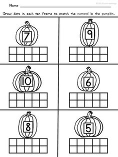} Apples and Pumpkins Ten Frame Math by My Happy Place Fall Preschool, Preschool Math, Teaching Math, Math Activities, Teaching Ideas, Numbers Kindergarten, Kindergarten Fun, Math Numbers, Math For Kids