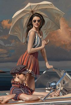"""""""Thunderball"""" - Peregrine Heathcote, oil on canvas {figurative realism symbolism art female standing with man driving boat woman holding umbrella cropped painting detail} peregrineheathcote.com"""