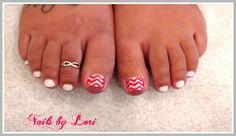 White Polish Summer Pedicure ~ Coral Chevron w/ gold glitter Coral Chevron, Pedicure Designs, White Polish, Gold Glitter, Nails, Summer, Finger Nails, Summer Time, Ongles