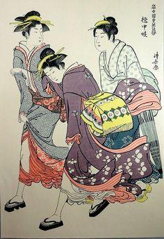 "Woodblock print by Torii Kiyonaga (Adachi reprint) - 'Tachibana Geisha and her attendants in the Wind' - From the series ""A Comparison of Fashionable Beauties of the Pleasure Quarters"" - Japan - Japanese Art Prints, Japanese Artwork, Asian Artwork, Japan Illustration, Japan Painting, Art Japonais, Korean Art, Japan Art, Antique Prints"