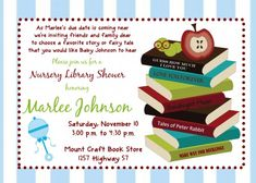 Book or Library Themed Baby Shower Invitation