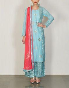 Bright Blue Kurta with Pants -Amrita Thakur