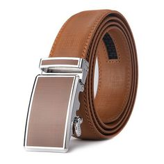 black30, waist20-43 Mens Belt Ratchet Belt Classic Dress Upscale Leather Fashion Automatic Buckle in inches