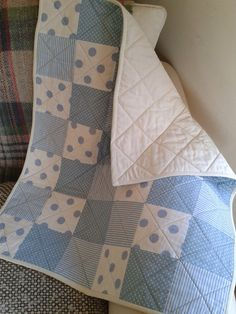 Blue Patchwork Baby Quilt baby boy by PollysPrettyPrints on Etsy, €70.00