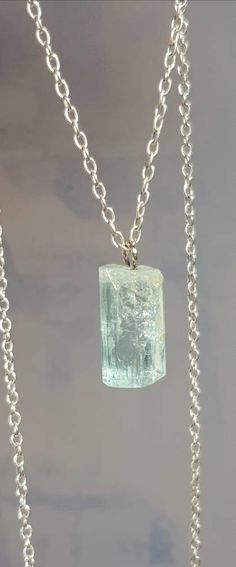 Raw Aquamarine Necklace Blue Crystal Gemstone Necklace #aquamarine #gemstone #crystal #necklace
