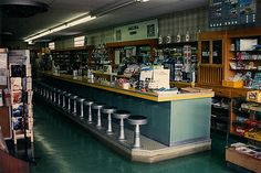 Our local drug store looked somewhat like this.  We would get a fountain soda and a bag of chips after school