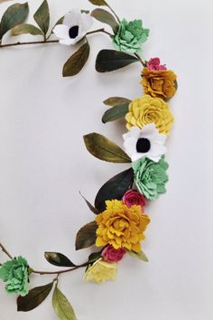 Felt wildflower garland by TheFeltFlowerShop on Etsy, $90.00