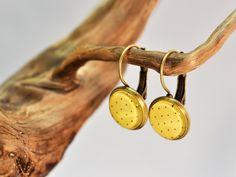 """Bronze Ohrhänger Vintage """"Dots"""" gelb-braun von Schmuckzucker auf DaWanda.com"""