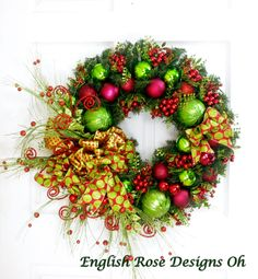 Large Christmas Wreath * Red and Green Wreath * Holiday Wreath * Christmas Decor * Front Door Wreath * Holiday Decor * Ornament Wreath by englishrosedesignsoh on Etsy