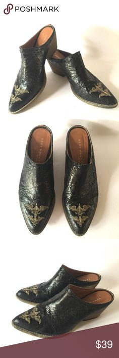 """Very Volatile LA Black Cowboy Mule Slip on Shoe 7 Worn Once - these black premium leather beauties fit true to size. I am normally a 6.5 - 7 and they fit me perfectly.  Heel measures 2.25"""", padded insole, stacked leather heel, synthetic sole Very Volatile Los Angeles Shoes Mules & Clogs"""