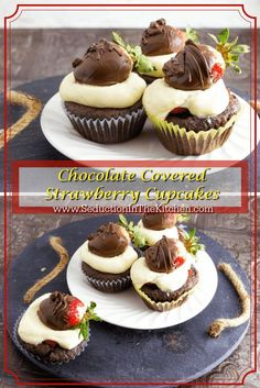 Chocolate Covered Strawberry Cupcakes is a decadent cupcake that is chocolate, strawberries, and a whipped cream frosting. A recipe from via /SeductionRecipe/
