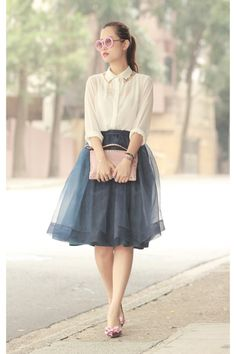 white Jovonna shirt - pink Valentino bag - teal Chicwish skirt