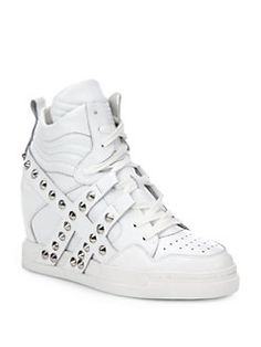 Ash - Clash Studded-Strap Leather Wedge Sneakers