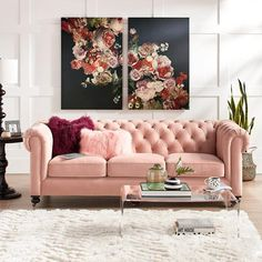 Adding a little touch of pink into your home decor design can make a room feel chic and feminine. Bright whites mixed with soft pink accents are perfect for making a room feel clean and inviting. Glam Living Room, Elegant Living Room, Home And Living, Living Room Decor, Bedroom Decor, Pink Living Room Sofas, Dining Room, Blue And Pink Living Room, Wall Decor