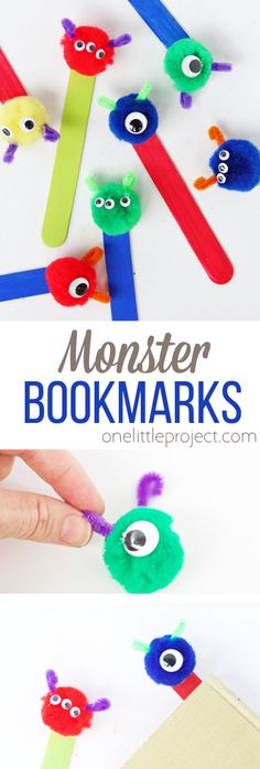 These pom pom monster bookmarks are SO adorable and super easy to make for the perfect back to school craft! # back to school crafts Monster Bookmarks - One Little Project Arts And Crafts Interiors, Arts And Crafts House, Easy Arts And Crafts, Arts And Crafts Projects, Diy Crafts For Kids, Summer Crafts, Craft Ideas, Back To School Crafts For Kids, Kid Projects