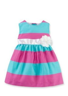 Chaps  Sleeveless Striped Woven Dress with Bloomer Girls 12-24 Months