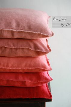 Pure Linen by Vini | Solid Linen Stone Washed Pillows | Reds