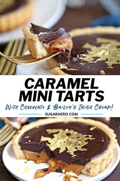 Learn how to make these easy Baileys Chocolate Caramel Tarts! With their buttery, crispy crust, Baileys salted caramel filling, and glossy chocolate topping, these mini caramel chocolate tarts are delicious, gorgeous, and great for St. Patrick's Day–or any time of year! | From SugarHero.com #sugarhero #carameltart #saltedcaramel #chocolatetart #caramelchocolatetart #minitarts
