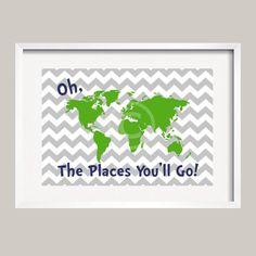 Dr. Seuss Quote Green Gray Navy Modern Art Print Typography Poster Nursery Art Print, Kids Wall Art, Playroom wall art-13x19 UNFRAMED