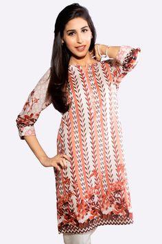 Buy this one piece Mesa Sunrise color Pret Ready to Wear Pakistani Kurti by Zeen Cambridge Pakistani Dress Designer Brand Online shopping Eid Collection 2017   #Alkaram #Zeen #Pret #Pretwear #Readytowear #Style #love #Eid #2017 #fashion #women #3piece #pakistani #Pakistan #bridal #prom #dinner #date #wear #dress #brand #designerwear #designer